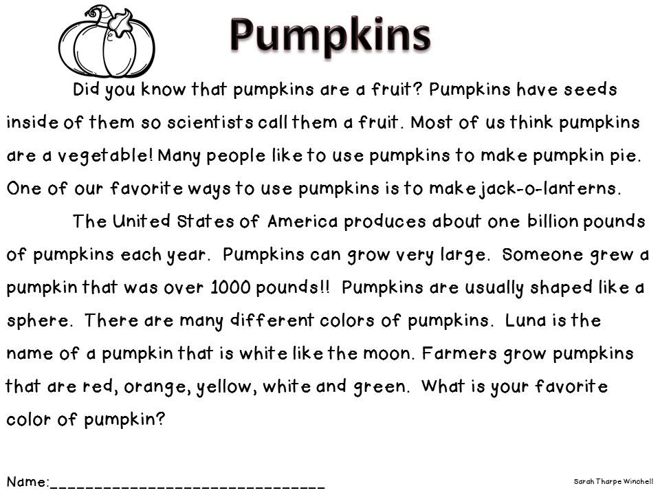 Free NonFiction Close Read Pumpkins – First Grade Reading Worksheet